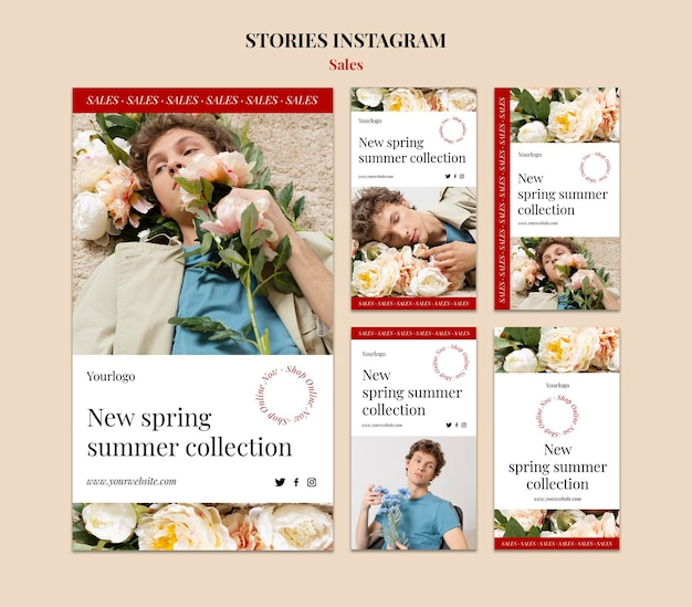 Lente zomer mode collectie instagram verhaal ontwerpsjabloon