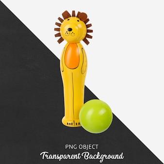 León de madera transparente con bola verde de juguete.