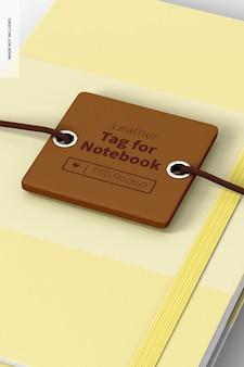 Leren label voor notebookmodel, close-up