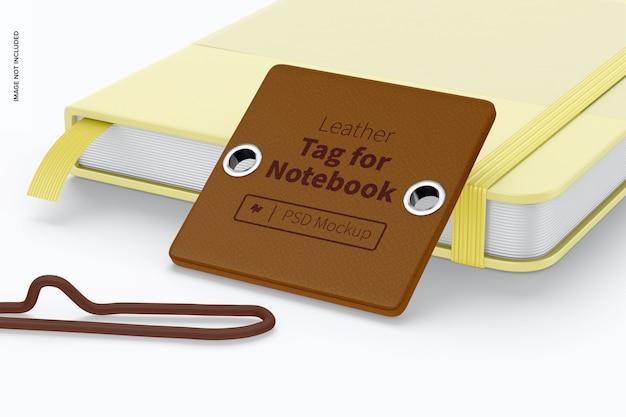 Leren label voor notebookmodel, leunend