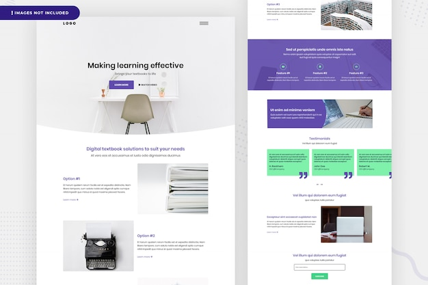 Leren website pagina-ontwerp