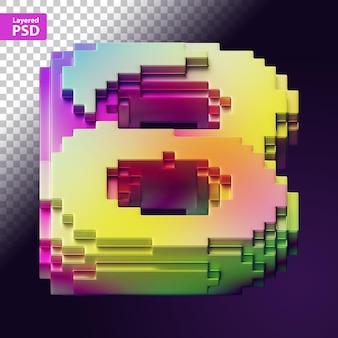 Letra 3d hecha de píxeles de colores