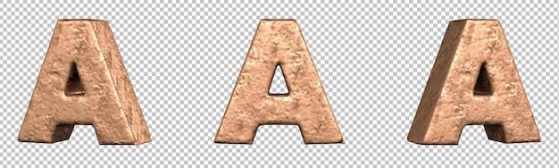 Letra a del conjunto de colección de alfabeto de letras de cobre. aislado. representación 3d
