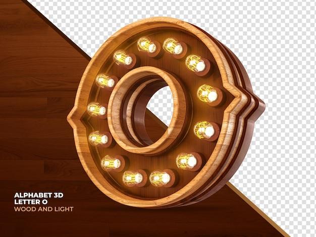 Letra o 3d render madera con luces realistas