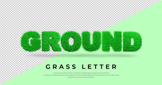 Letra de tierra con pasto 3d