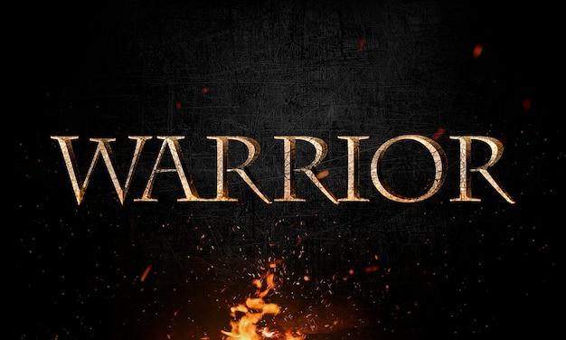 Letras de guerrero abstracto con efecto grunge y metal en fuego