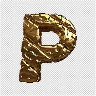 Letras de oro de barras diagonales sin pulir. 3d letra p