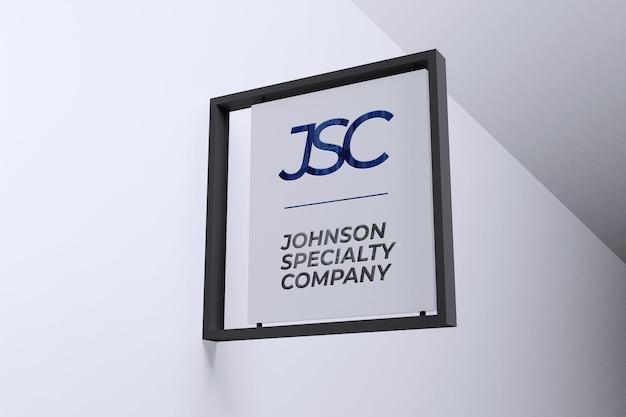 Letrero colgante moderno de maqueta de logotipo