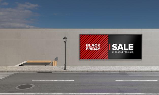 Letrero en maqueta de letrero de wall street con banner de venta de viernes negro