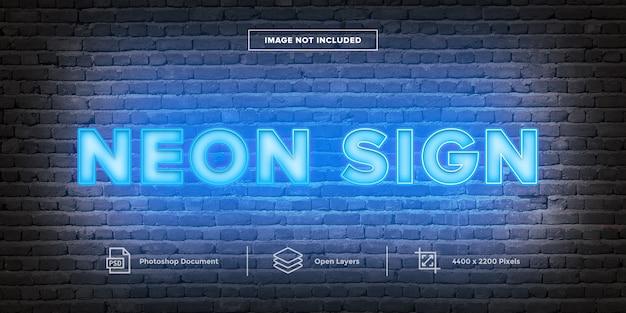 Letrero de neón diseño de efecto de texto estilo de capa