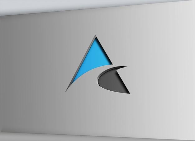 Letrero de pared con efecto de corte logotipo mock up