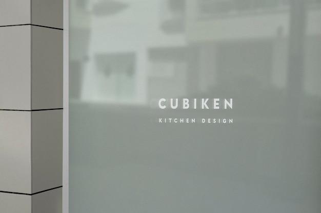 Letrero de ventana opaco de maqueta de logotipo