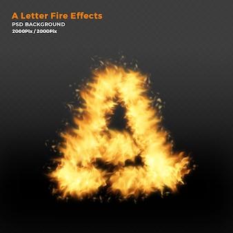 Letter a realistische vuurvlammen op zwarte achtergrond