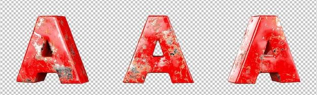 Letter a van rood gekrast metalen letters alfabet collectie set. geïsoleerd. 3d-rendering