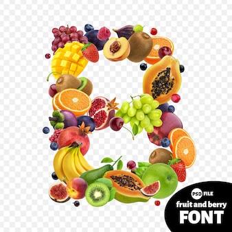Letter b, fruit lettertype symbool