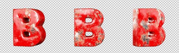 Letter b van rood gekrast metalen letters alfabet collectie set. geïsoleerd. 3d-rendering