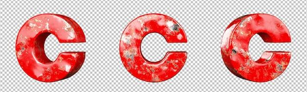 Letter c van red gekrast metalen letters alfabet collectie set. geïsoleerd. 3d-rendering