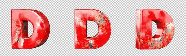 Letter d van rood gekrast metalen letters alfabet collectie set. geïsoleerd. 3d-rendering