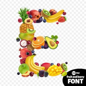Letter e, fruit lettertype symbool