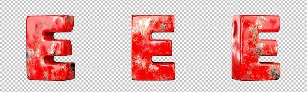 Letter e van rood gekrast metalen letters alfabet collectie set. geïsoleerd. 3d-rendering