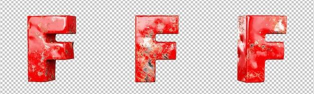 Letter f van rood gekrast metalen letters alfabet collectie set. geïsoleerd. 3d-rendering