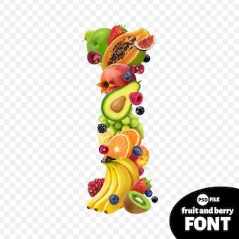 Letter i, fruit lettertype symbool