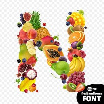 Letter n, fruit lettertype symbool