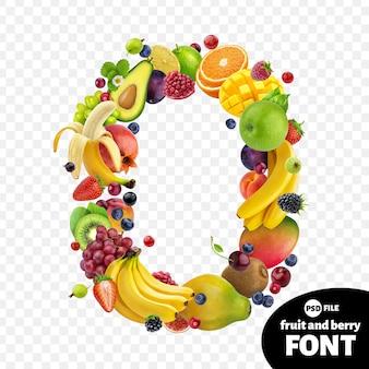 Letter o, fruit lettertype symbool
