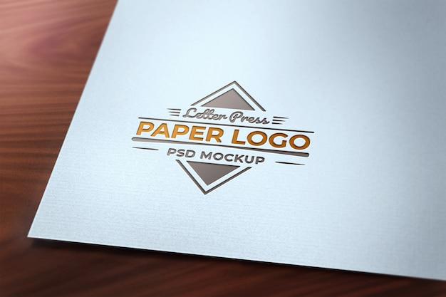 Letter press logo papier mockup