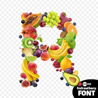 Letter r, fruit lettertype symbool