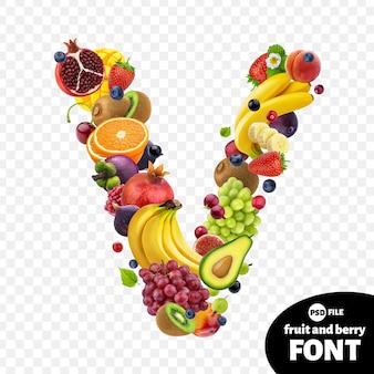 Letter v, fruit lettertype symbool