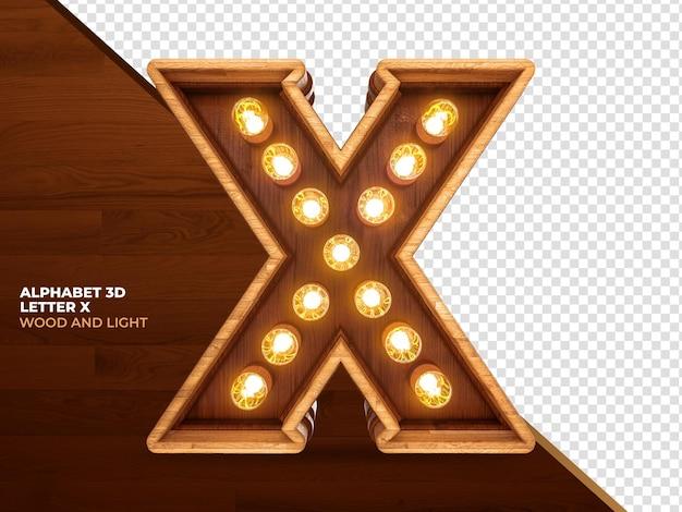 Letter x 3d render hout met realistische lichten