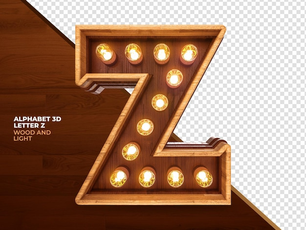 Letter z 3d render hout met realistische lichten