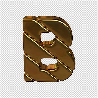 Letters gemaakt van goudstaven. 3d-letter b