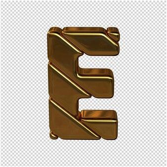 Letters gemaakt van goudstaven. 3d-letter e