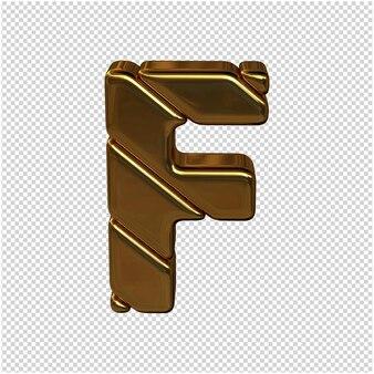 Letters gemaakt van goudstaven. 3d-letter f