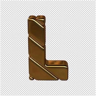 Letters gemaakt van goudstaven. 3d-letter l