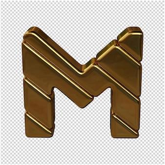 Letters gemaakt van goudstaven. 3d-letter m
