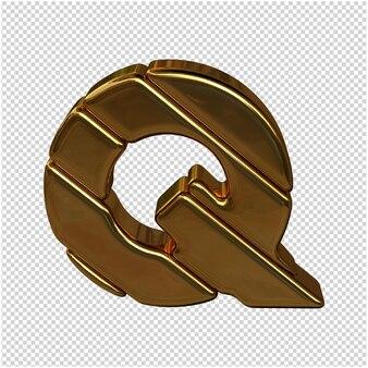 Letters gemaakt van goudstaven. 3d-letter q
