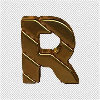 Letters gemaakt van goudstaven. 3d-letter r
