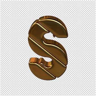 Letters gemaakt van goudstaven. 3d-letter s