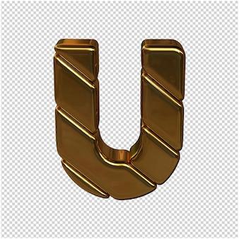 Letters gemaakt van goudstaven. 3d letter u