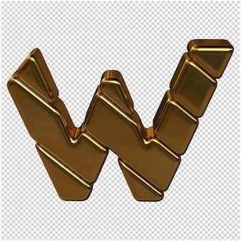Letters gemaakt van goudstaven. 3d-letter w
