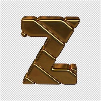 Letters gemaakt van goudstaven. 3d-letter z