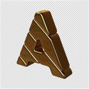 Letters gemaakt van goudstaven naar links gedraaid op een transparante achtergrond. 3d-hoofdletter a