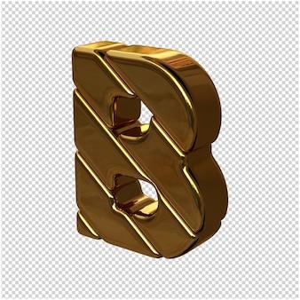 Letters gemaakt van goudstaven naar links gedraaid op een transparante achtergrond. 3d-hoofdletter b
