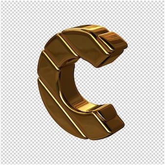 Letters gemaakt van goudstaven naar links gedraaid op een transparante achtergrond. 3d-hoofdletter c