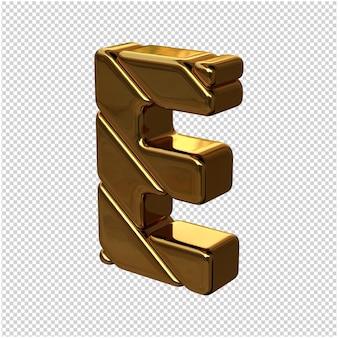 Letters gemaakt van goudstaven naar links gedraaid op een transparante achtergrond. 3d-hoofdletter e