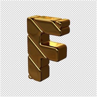 Letters gemaakt van goudstaven naar links gedraaid op een transparante achtergrond. 3d-hoofdletter f