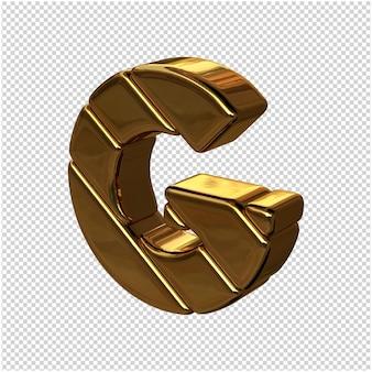 Letters gemaakt van goudstaven naar links gedraaid op een transparante achtergrond. 3d-hoofdletter g